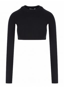 Cropped top in black stretch wool