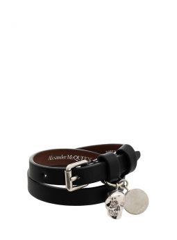 Leather Double Wrap Skull Bracelet