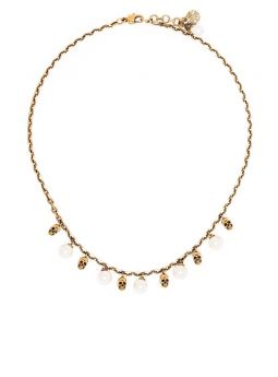 Gold-tone pearl necklace