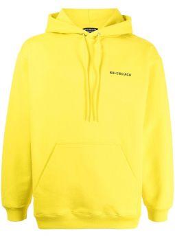Yellow logo-print cotton hoodie