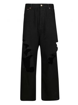 Destroyed Large Baggy Pants in black Japanese denim