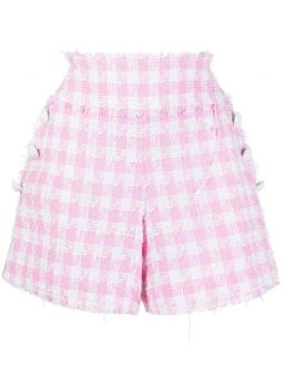 High-waisted white and pale pink tartan tweed shorts