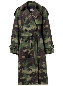 Camouflage-print trench coat