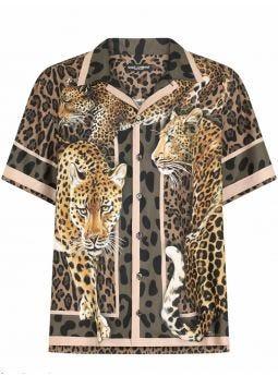 Leopard print Hawaii silk shirt