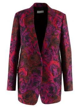 Fucsia floral jacquard blazer