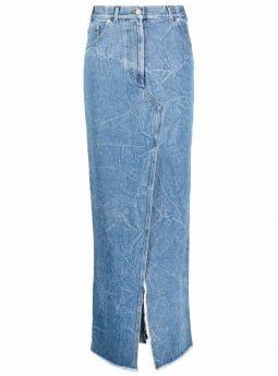 Long blue denim skirt