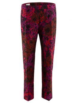 Fucsia flower jacquard trousers