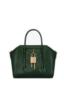 Mini Antigona Lock bag in green Box leather