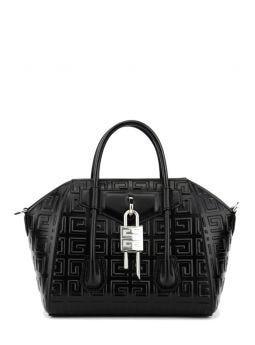Black Antigona Lock Mini 4G Leather Bag
