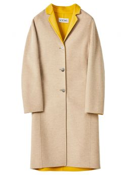 Anagram bi-colour coat in wool and cashmere