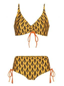 Swimsuit with yellow Ciao Paco print