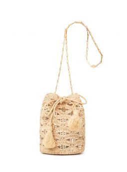 Beige Rabanne bucket bag