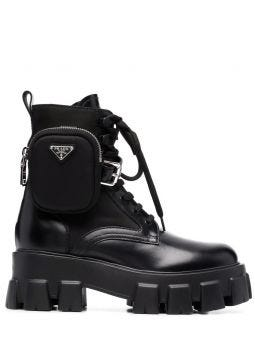 Black brushed Rois leather and nylon Monolith boots