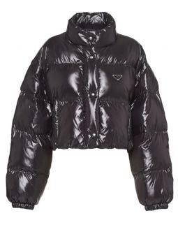 Black Ciré nylon puffer jacket