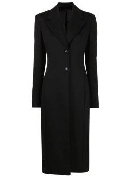 Black single-breasted long coat