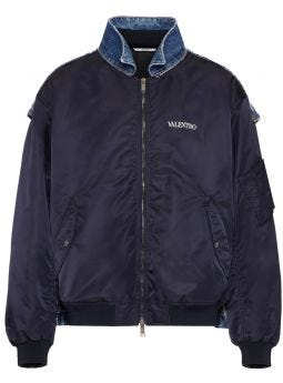 Blue nylon and denim blend jacket