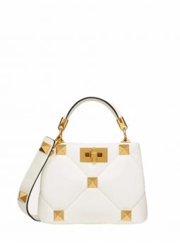 White Roman Stud sheep leather handbag
