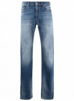 Blue faded-effect straight-leg jeans