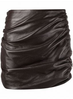 Brown ruched-leather pencil skirt