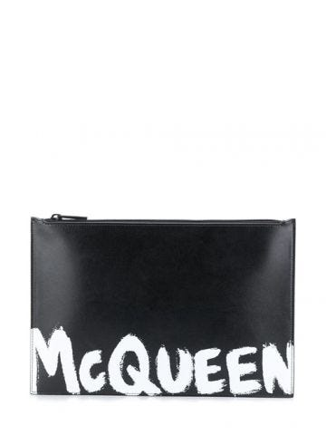 McQueen Graffiti leather pouch