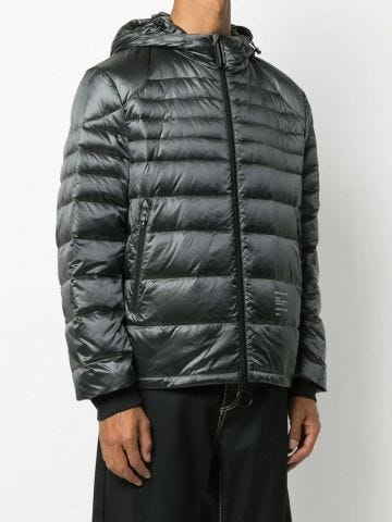 Logo-print packable tech puffer jacket