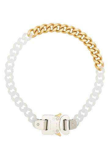 Acrylic and brass mini bicolour Cubix chain necklace