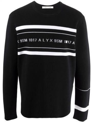 Black logo-print crew neck sweatshirt