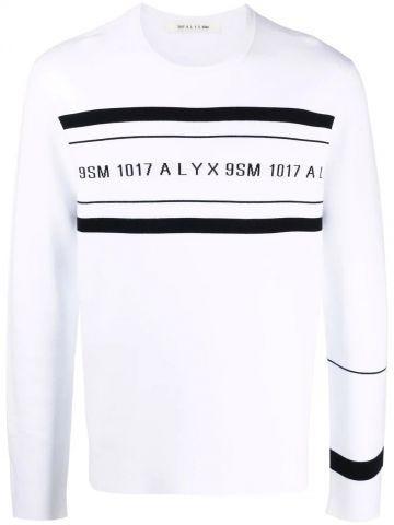 White logo-print crew neck sweatshirt