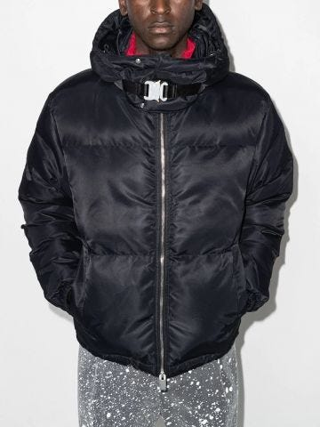 Black down jacket with buckle detail