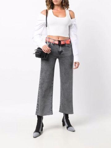 Grey wide leg crop jeans