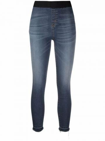 Blue skinny crop leggings