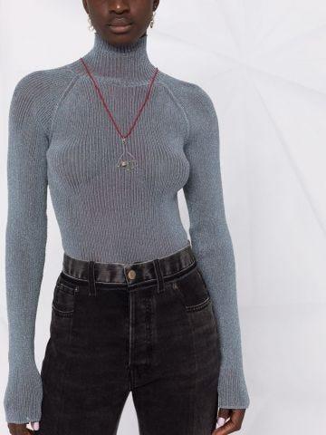 Silver turtleneck sweater