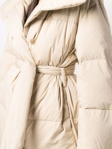 Beige goose down jacket with knot