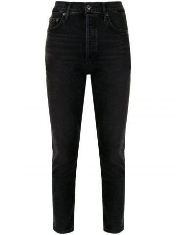 Black slim-fit mid-rise denim jeans