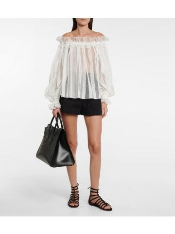 White off-shoulder mesh blouse