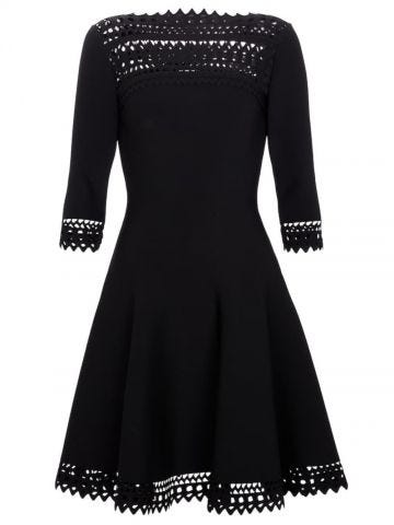 Alaia Edition 2016 flared dress in black openwork stretch knit
