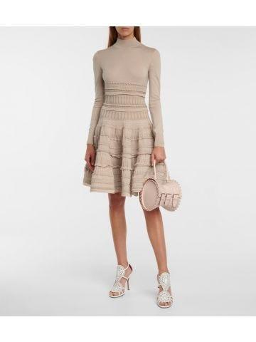 Alaia Edition 2007 high-neck dress in beige wool crinoline