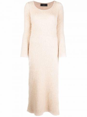 Beige long-sleeve slit-detail dress