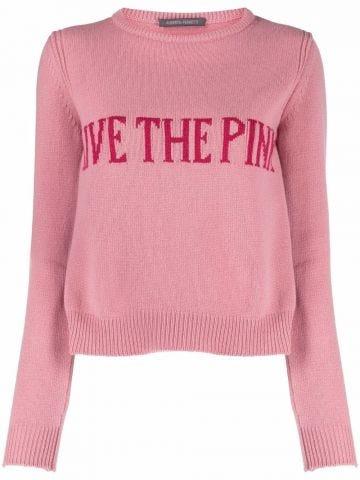 Pink intarsia-knit sweater