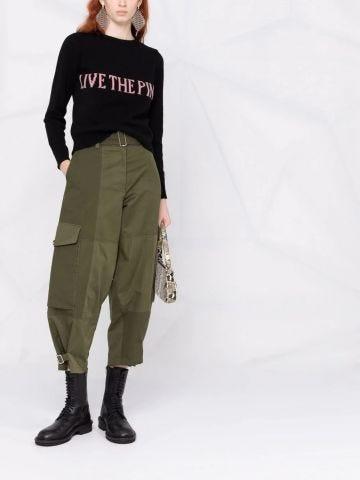 Black intarsia-knit slogan jumper