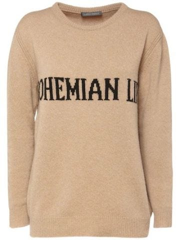 Beige Bohemian Life intarsia-knit cashmere oversized sweater
