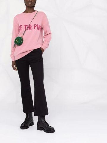 Pink slogan-print knitted jumper