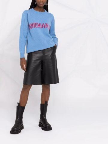 Blue Bohemian Life intarsia-knit cashmere oversized sweater