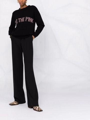 Black intarsia-knit sweater
