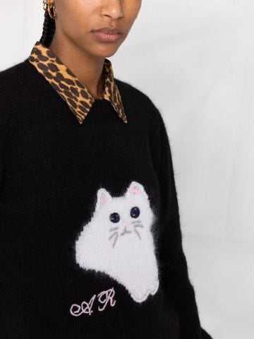 Black embroidered crew neck jumper