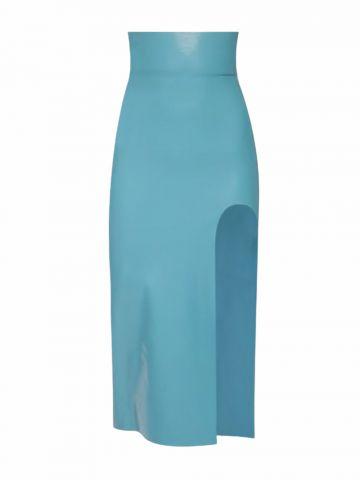 Blue latex midi skirt with slit