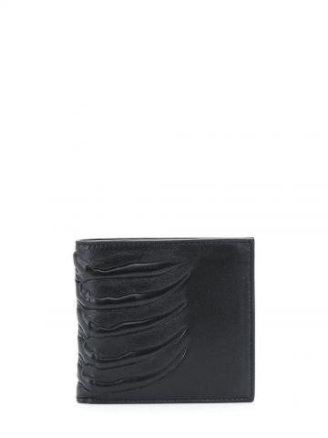 Portafoglio nero con motivo goffrato