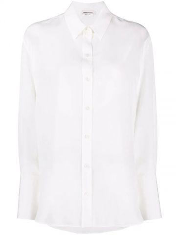 White long-sleeve silk shirt