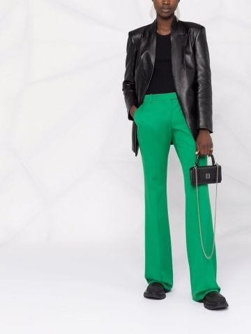 Green flared tailored pants