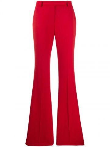 Red wool wide leg pants